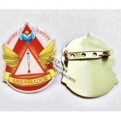 广州彩色印刷徽章、爱心渐变色襟章、金属印刷徽章厂